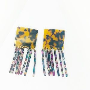 CLOSET REHAB Jewelry - Square Earrings in Tortoise with Multi Fringe